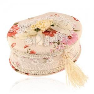 Oválna šperkovnica béžovej farby s kyticou kvetov a mašľou, farebné kvety