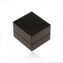 Krabička na prsteň alebo náušnice, lesklý koženkový povrch čiernej farby