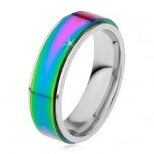 Prsteň z ocele 316L, dúhový vyvýšený pás, okraje striebornej farby, 8 mm