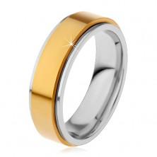 Prsteň z chirurgickej ocele, vyvýšený otáčavý pás zlatej farby, úzke okraje, 8 mm