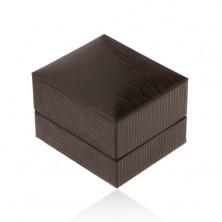 Darčeková krabička na náušnice, tmavohnedá koženka zdobená zárezmi