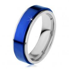 Prsteň z ocele 316L, modrý vyvýšený pás, okraje striebornej farby, 8 mm