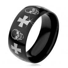 Oceľový prsteň s čiernym povrchom, lebky a kríže striebornej farby, 9 mm