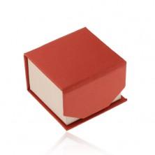Krabička na prsteň alebo náušnice, červeno-béžový ligotavý povrch, magnet