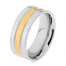 Prsteň z ocele 316L strieborno-zlatej farby - tri lesklé pásy, 8 mm