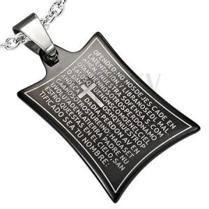 Oceľový prívesok modlitba a kríž