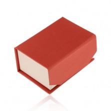 Červeno-béžová krabička na prsteň alebo náušnice, magnetické zatváranie