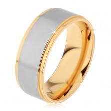 Dvojfarebný prsteň z chirurgickej ocele, vyvýšený matný pás striebornej farby, 8 mm