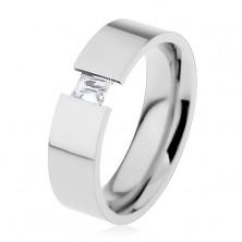 Oceľový prsteň striebornej farby s čírym obdĺžnikovým zirkónom, 6 mm