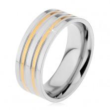 Oceľový prsteň striebornej farby s vyvýšenými pásmi v zlatom odtieni, 8 mm