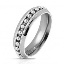 Lesklý oceľový prsteň striebornej farby, guličková retiazka, vrúbkované línie, 6 mm