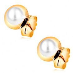 Šperky eshop - Náušnice v žltom 14K zlate - biela perla vložená v malom lesklom kruhu GG188.37