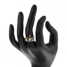 Prsteň v striebornom odtieni - väčšie zrniečkové zirkóny a číre zirkóniky