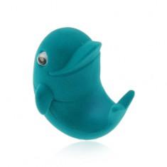 Šperky eshop - Zamatová krabička na prsteň alebo náušnice, modrý delfín, pohyblivé očká Y05.12