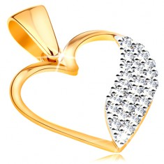 37c77819b Šperky eshop - Dvojfarebný prívesok v 14K zlate - obrys srdca, široká vlnka  z čírych