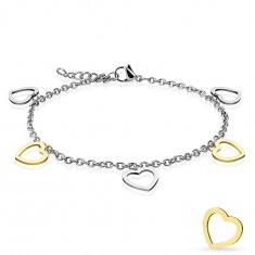 Šperky eshop - Oceľový náramok, retiazka z oválnych očiek, visiace prívesky - dvojfarebné srdiečka AB29.28