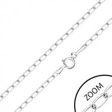Retiazka v bielom 9K zlate - lesklé ploché oválne očká, 500 mm