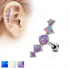 Šperky eshop - Piercing do ucha z ocele 316L, oblúk z piatich syntetických opálov AB30.16 - Farba piercing: Biela