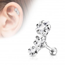 Oceľový piercing do tragusu ucha, oblúk z troch zirkónových hviezdičiek