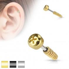 Šperky eshop - Oceľový piercing do tragusu ucha - imitácia skrutky, rôzne farby AB30.26 - Farba piercing: Čierna