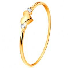 Prsteň v žltom 14K zlate - dva číre zirkóny a lesklé vypuklé srdiečko