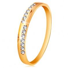 Zlatý prsteň 585 - úzke línie z čírych ligotavých zirkónikov, vysoký lesk