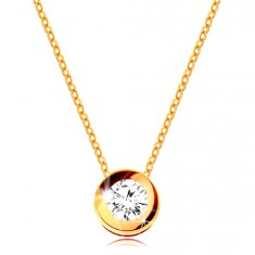 1f51c469c Šperky eshop - Náhrdelník v žltom 14K zlate - okrúhly číry zirkón v  objímke, jemná