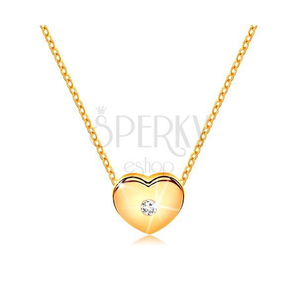 718b4bf79 Diamantový náhrdelník, žlté 14K zlato - srdiečko s čírym briliantom, tenká  retiazka ...