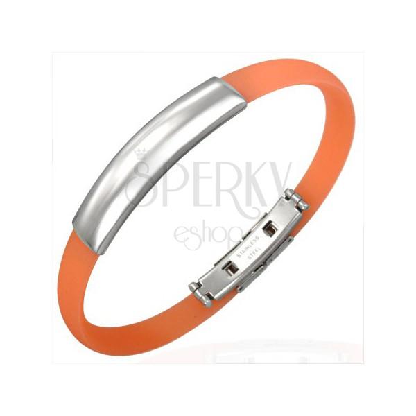 Plochý gumový náramok - známka, oranžový