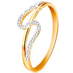 Diamantový prsteň zo 14K zlata, rovné a zvlnené rameno, drobné číre diamanty