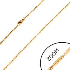 Oceľová retiazka zlatej farby - úzke hranaté články s ryhami, 1,5 mm