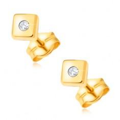 f582e438e Šperky eshop - Diamantové zlaté náušnice 585 - lesklé štvorce s drobným  čírym briliantom v strede