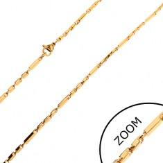 Retiazka z ocele 316L zlatej farby, dlhšie a kratšie hranaté články, 2 mm