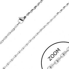 Oceľová retiazka v striebornom odtieni - lesklé skosené hranoly, 2 mm