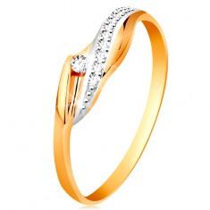 20e183bf2 Šperky eshop - Zlatý 14K prsteň - lesklé zvlnené ramená, trblietavá číra  vlnka a zirkón GG191.61 67 - Veľkosť: 48 mm