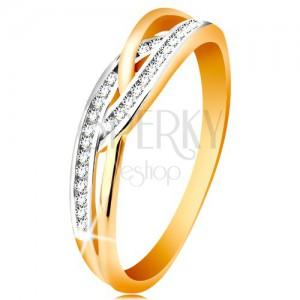 Prsteň v 14K zlate - prepletené rozdelené ramená, okrúhle číre zirkóny