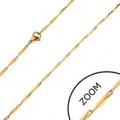 Šperky eshop - Retiazka z ocele 316L, skosené hranaté články zlatej farby, 1,5 mm Z28.14