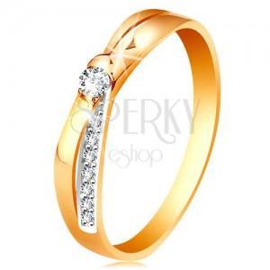Prsteň v 14K zlate - rozdvojené prekrížené línie ramien, okrúhle číre zirkóny