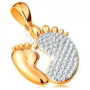 Prívesok v 14K zlate - dve chodidlá - hladké menšie a zirkónové väčšie