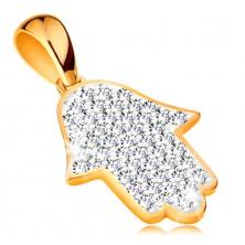Zlatý prívesok 585 - symbol Hamsa vykladaný žiarivými čírymi zirkónmi