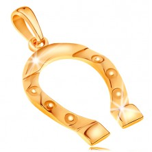 Prívesok zo žltého zlata 585, symbol šťastia - podkovička, gravírované kolieska