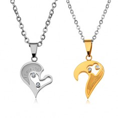 Set náhrdelníkov z ocele 316L pre zaľúbených, srdiečkové prívesky, číre zirkóny