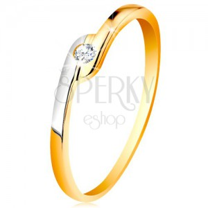 Prsteň zo 14K zlata - okrúhly číry zirkón, dvojfarebné predĺžené konce ramien