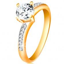 Prsteň v 14K zlate - žiarivý okrúhly zirkón čírej farby, zirkónové ramená