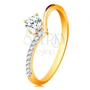 Zlatý prsteň 585 - ramená zahnuté do špica a zirkón čírej farby v kotlíku