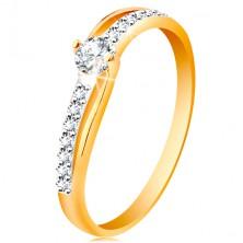 Zlatý prsteň 585 s rozdelenými dvojfarebnými ramenami, číre zirkóny