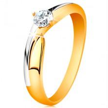Prsteň zo 14K zlata - dvojfarebné ramená, ligotavý zirkón čírej farby