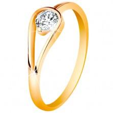 Zlatý 14K prsteň s úzkymi lesklými ramenami, číry zirkón v slučke