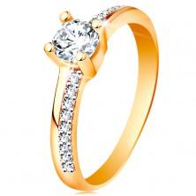 Zlatý prsteň 585 s trblietavými líniami a čírym zirkónom v kotlíku