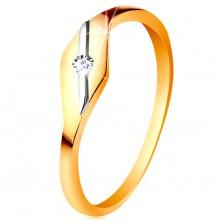 Zlatý prsteň 585 - lesklé zrnko, šikmá línia z bieleho zlata a číry zirkónik